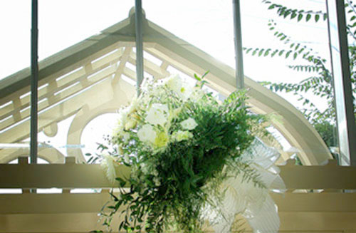 Feature Bouquet on Front Door Arbor -The Conservatory Garden Wedding Venue, St. Louis, MO