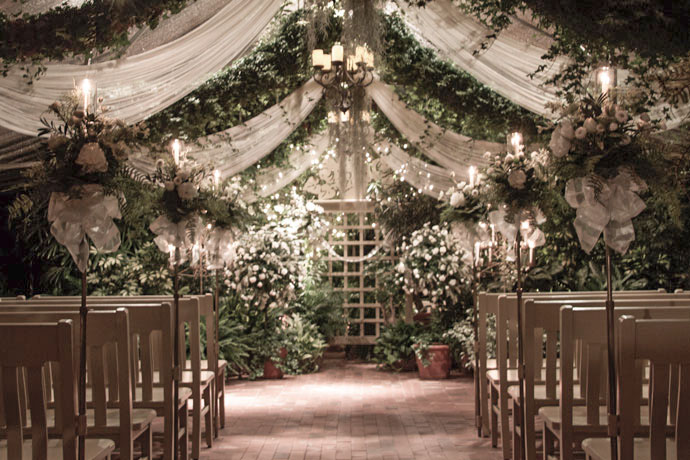 Aisle Candelabra & Topiary - The Conservatory Garden Wedding Venue, St. Louis, MO